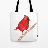 craftberrybush Tote Bags featuring Red cardinal  by craftberrybush