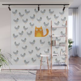 Cat Among The Pigeons Wall Mural