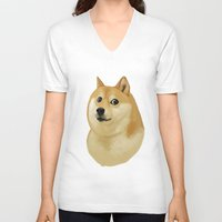 doge V-neck T-shirts featuring Doge by Brad Collins Art & Illustration