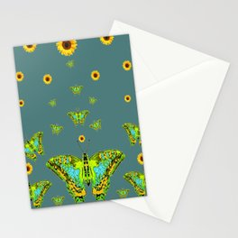 BLUE-GREEN-YELLOW PATTERNED MOTHS YELLOW SUNFLOWERS Stationery Cards