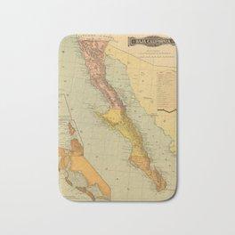 Vintage Map of Baja California (1886) Bath Mat