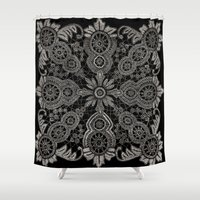 victorian Shower Curtains featuring Victorian Monochrome by The Digital Weaver