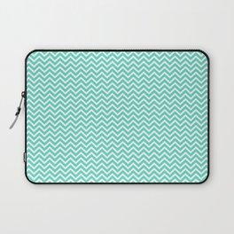 Aqua Blue Mini Chevron Stripes Laptop Sleeve