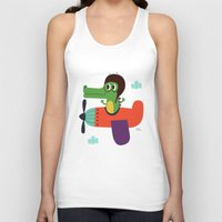 pilot Tank Tops featuring crocodile pilot by Joanne Liu