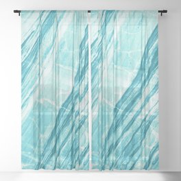 Abstract Marble - Teal Turquoise Sheer Curtain