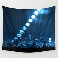 moonrise Wall Tapestries featuring moonrise  by yahtz designs