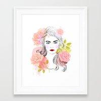 cara delevingne Framed Art Prints featuring Cara Delevingne by Sara Eshak
