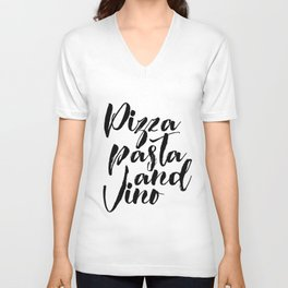 PRINTABLE POSTER, Pizza Pasta And Vino, Bar Decor,Pizza Shop Decor,Restaurant Unisex V-Neck