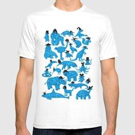 Blue Animals Black Hats T-shirt