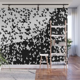 Birds in flight. Allegory of day and night Wall Mural