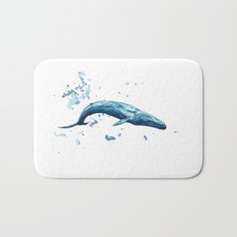 Blue Whale Watercolor Painting Bath Mat