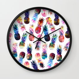 watercolor and nebula pineapples illustration pattern Wall Clock