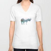 rhino V-neck T-shirts featuring Rhino  by O   N   E