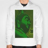 buddah Hoodies featuring Buddah Head 02; Green  by Kether Carolus