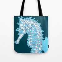 sea horse Tote Bags featuring Sea horse by Thom Deer