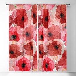 Pressed Poppy Blossom Pattern Blackout Curtain