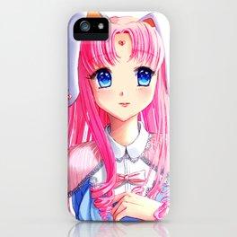 Anime pink bunny art print iPhone Case