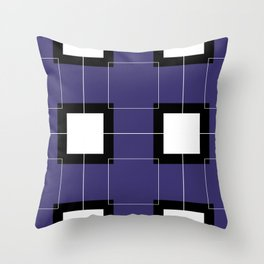 White Hairline Squares in Deep Purple Throw Pillow