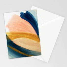 Slow as the Mississippi - Acrylic abstract with pink, blue, and brown Stationery Cards