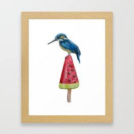 Kingfisher on ice 4 Framed Art Print