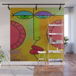 Funky Face Abstract Digital Painting Wall Mural