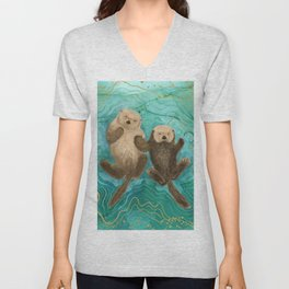 Otters Holding Paws, Floating in Emerald Waters Unisex V-Neck