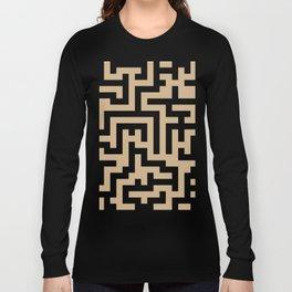 Black and Tan Brown Labyrinth Long Sleeve T-shirt