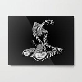 0111-DJA Abstract Nude Black & White Light Zebra Pattern Slender Woman Beautiful Body Flow Metal Print
