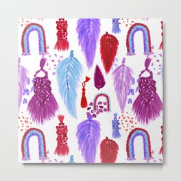 Macrame Feathers + Rainbows in Magenta Rainbow Metal Print