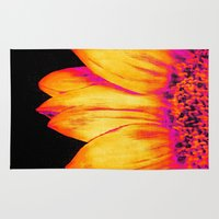 sunflower Area & Throw Rugs featuring Sunflower Pink Yellow by PureVintageLove