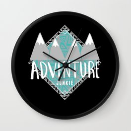 Black Teal & Gray Adventure Junkie Wall Clock