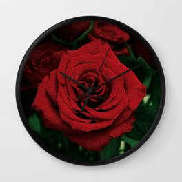 Bright Red Rose at Climax ~ Romance Series Wall Clock