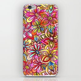 Pink Floral and blues iPhone Skin