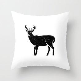 Buck deer antlers portrait minimal black and white linocut printmaking art Throw Pillow