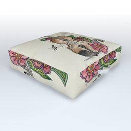 Violin and Flowers Outdoor Floor Cushion