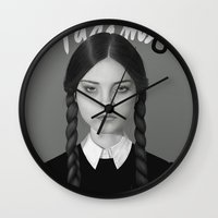 persona Wall Clocks featuring Wednesday Addams by Albert Lee