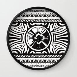 Hunab Ku Mayan symbol black and white #2 Wall Clock