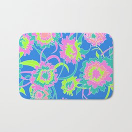 Bold Tropical Floral in Neon Blue + Lime Bath Mat