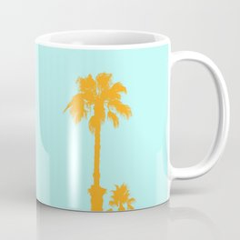 Orange palm trees silhouettes on blue Coffee Mug