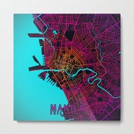 Manila City Map of Philippines - Neon Metal Print