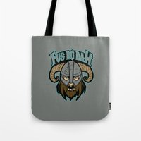 skyrim Tote Bags featuring fus ro dah by Buby87