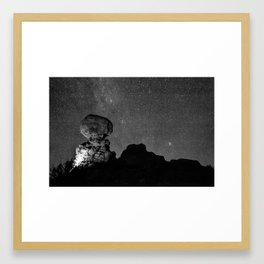 Starry Night in Arches National Park - Moab Utah Monochrome Framed Art Print