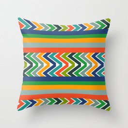 Multicolored stripes and waves Throw Pillow