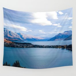queenstown view new zealand blue lake and panorama Wall Tapestry