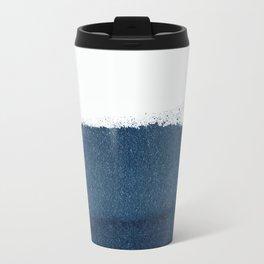 Indigo Art / Minimal Navy Print Metal Travel Mug