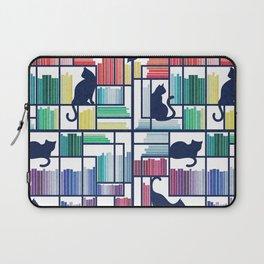 Rainbow bookshelf // white background navy blue shelf and library cats Laptop Sleeve