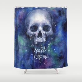 Sweet Dreams Skull in Space Shower Curtain