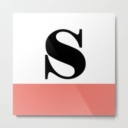 Monogram Letter S-Pantone-Peach Echo Metal Print