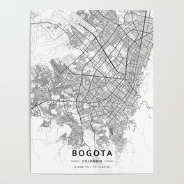 Bogota, Colombia - Light Map Poster
