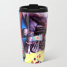 Monkey Smoking Outsider Art Painting Travel Mug